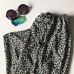 Satin cheetah print skirt